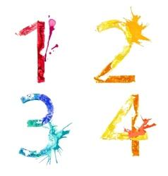 paint splash font 1234 vector image