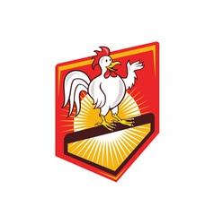 Rooster cockerel waving hello shield cartoon vector
