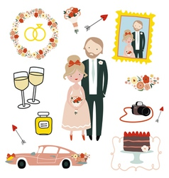 Set with newlyweds vector