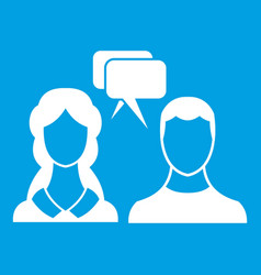 Speech bubbles with two faces icon white vector