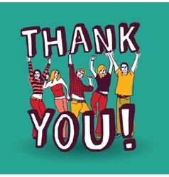 Thank you sign with group happy people vector