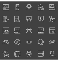 Video game line icons vector