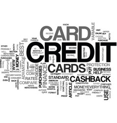 What is a cash back credit card text word cloud vector