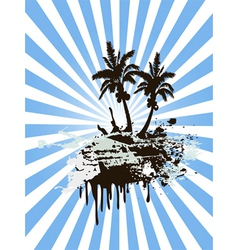 Grunge Palm Island vector image