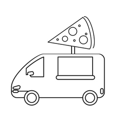 Pizza delivery truck fast food outline vector