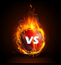 Fiery ball for cricket championship with vs versus vector
