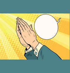 men hands in prayer vector image
