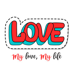 fashion patch element with love lettering vector image