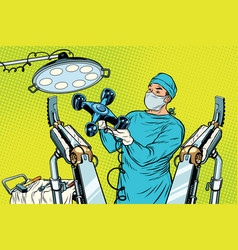 Obstetrician delivered a baby robot quadcopter vector