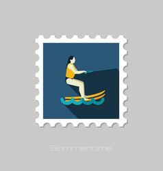 Water skiing stamp summer vacation vector
