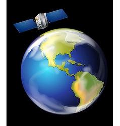 Satellite orbiting earth vector