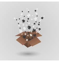 Brown paper box and puzzle pieces vector