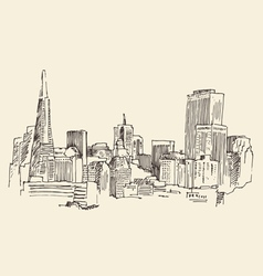 San francisco big city architecture vintage vector