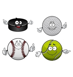 Ice hockey golf tennis and baseball items vector