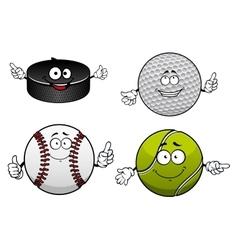 Ice hockey golf tennis and baseball items vector image