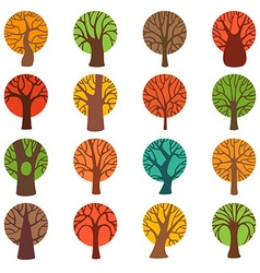 Set of colourful autumn tree icons vector