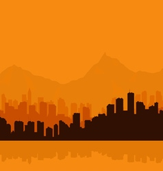 Contour of city on a background mountains vector