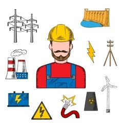 Electricity industry sketch with power icons vector