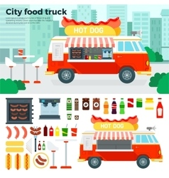 Food truck with snacks in the city vector