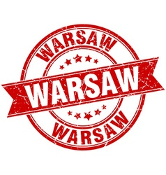 Warsaw red round grunge vintage ribbon stamp vector