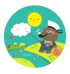 Cute bear catches on a fishing rod vector