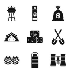 Adult game icons set simple style vector