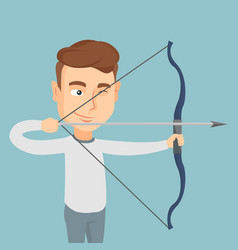 Archer training with a bow vector