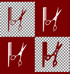 Barber shop sign bordo and white icons vector