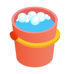 Bucket with water for cleaning isometric 3d icon vector image