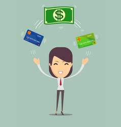 business woman displaying a cash and cash card vector image vector image