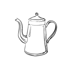 doodle coffee pot vector image vector image