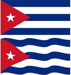Flat and waving cuban flag vector