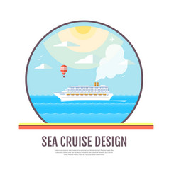 Flat style design of cruise liner in the ocean vector