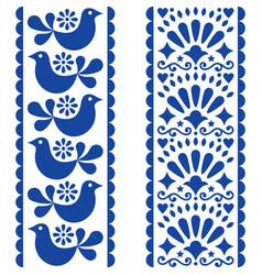 folk art seamless pattern - mexican style long str vector image