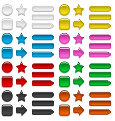 glass buttons of various colors set vector image vector image