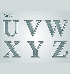 guilloche letters UVWXYZ vector image