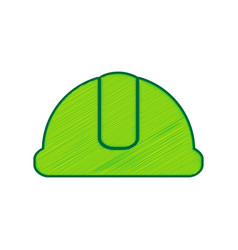 hardhat sign  lemon scribble icon on white vector image vector image