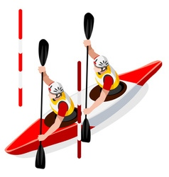 Kayak slalom doubles 2016 sports isometric 3d vector
