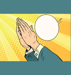 Men hands in prayer vector
