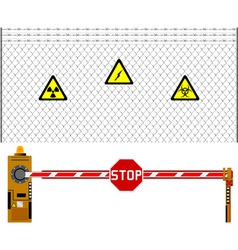 mesh fence and barrier gate vector image