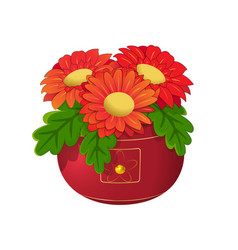 Red flowers in a pot vector