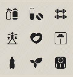 Set of 9 editable fitness icons includes symbols vector