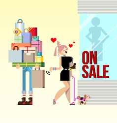 Shopping woman and boyfriend vector