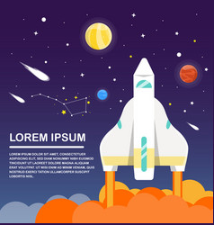 Space shuttle and solar system infographics flat vector