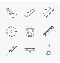 Trowel for tile saw and brush tool icons vector image vector image