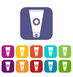 tube with sunbathing cream icons set vector image