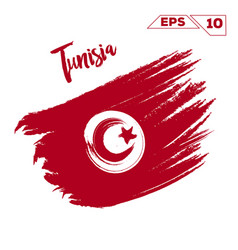 Tunisia flag brush strokes painted vector