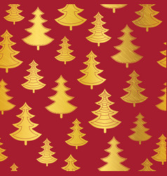vecrtor golden and red christmas trees seamless vector image