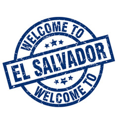 Welcome to el salvador blue stamp vector