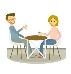 Young couple sits in cafe and drinks coffee vector image vector image